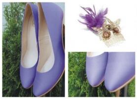 Czółenko fioletowe dopasowane do ozdób sukni